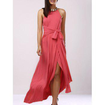 Fashionable Women's Hatler Sleeveless Backless Solid Color Maxi Dress