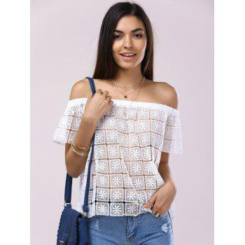 Fashionable Short Sleeves Off-The-Shoulder Cut-Out Lace Blouse For Women - WHITE M