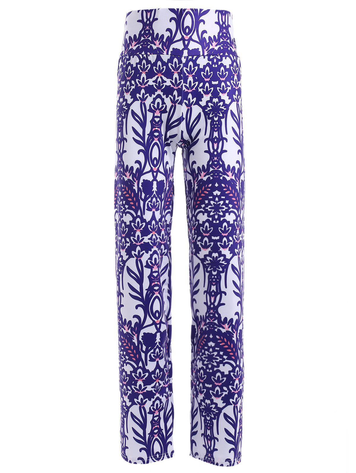 Casual Women's Elastic Waist Multi Pattern Print Pants - BRIGHT BLUE ONE SIZE(FIT SIZE XS TO M)