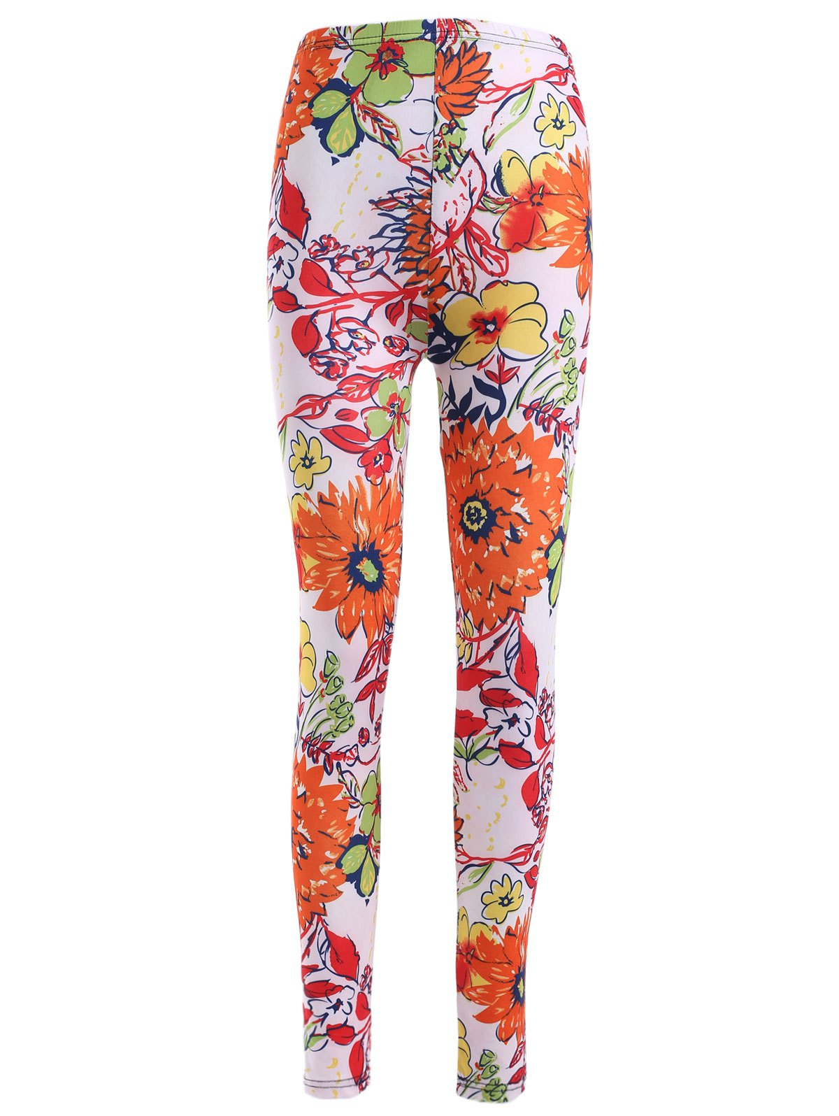 Causal Elastic Waist Floral Printing Skinny Stretch Pants For Women - ORANGE RED ONE SIZE(FIT SIZE XS TO M)