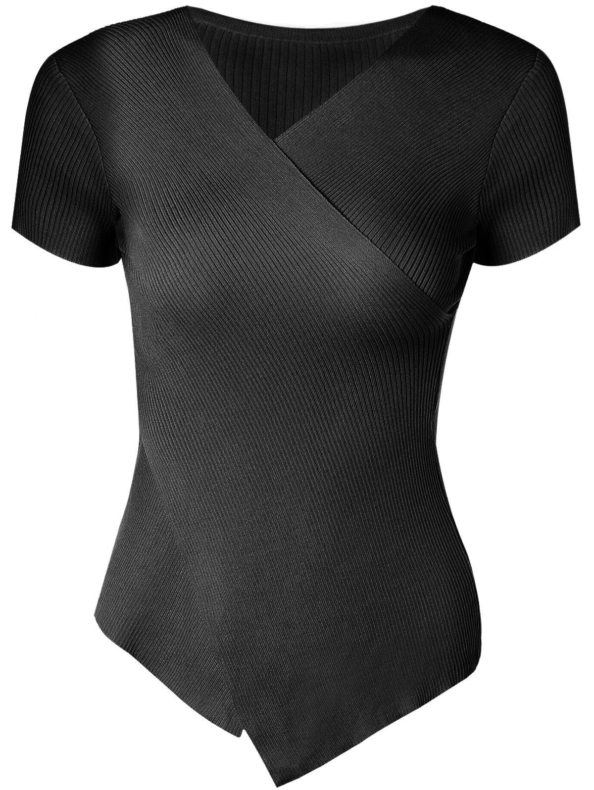 Stylish Women's V-Neck Solid Color Asymmetric Short Sleeves Knitwear - BLACK ONE SIZE(FIT SIZE XS TO M)