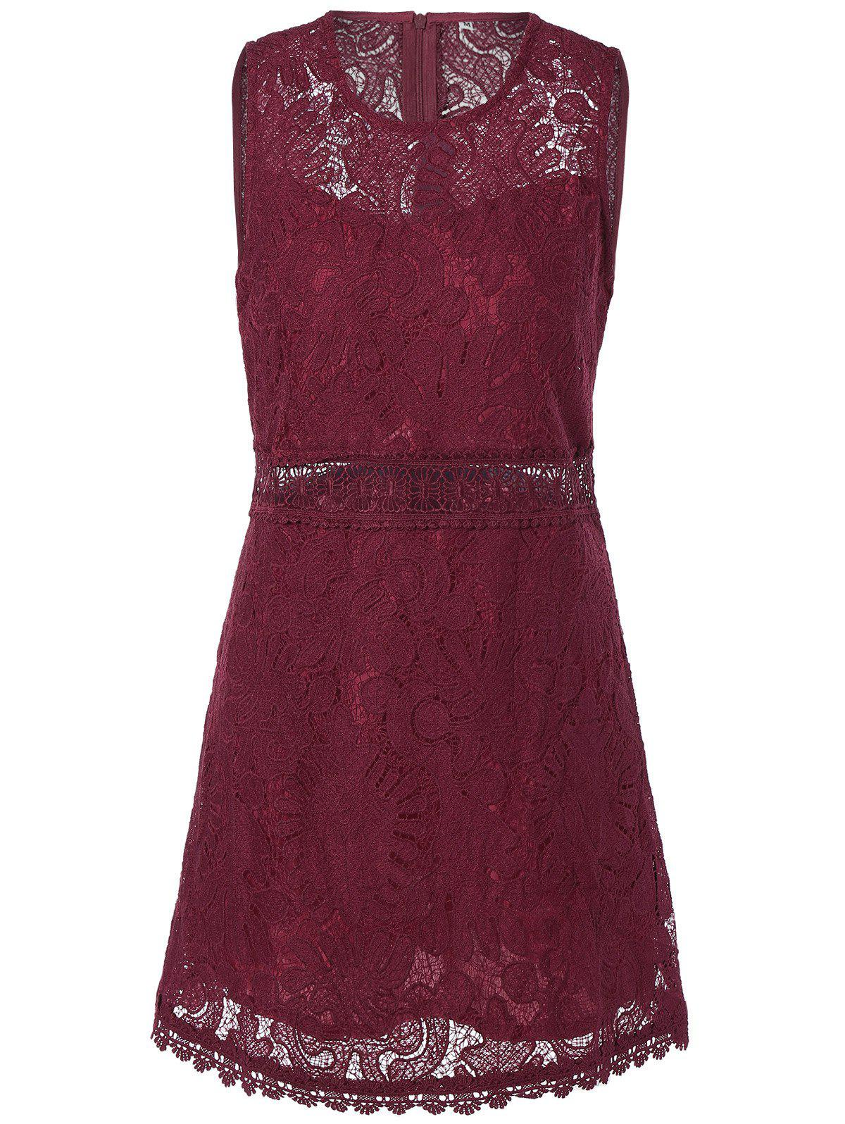 Stylish Women's Round Neck Sleeveless Solid Color Lace Dress - DEEP RED M