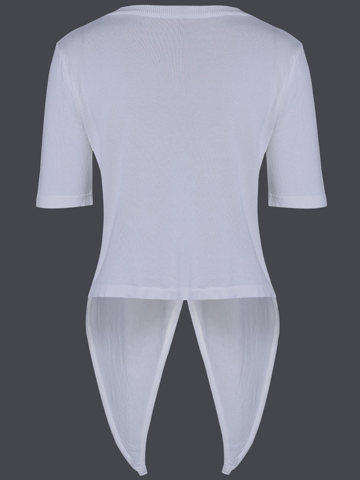 Casual Women's Scoop Neck Solid Color Tie Short Sleeves Knitwear - WHITE ONE SIZE(FIT SIZE XS TO M)