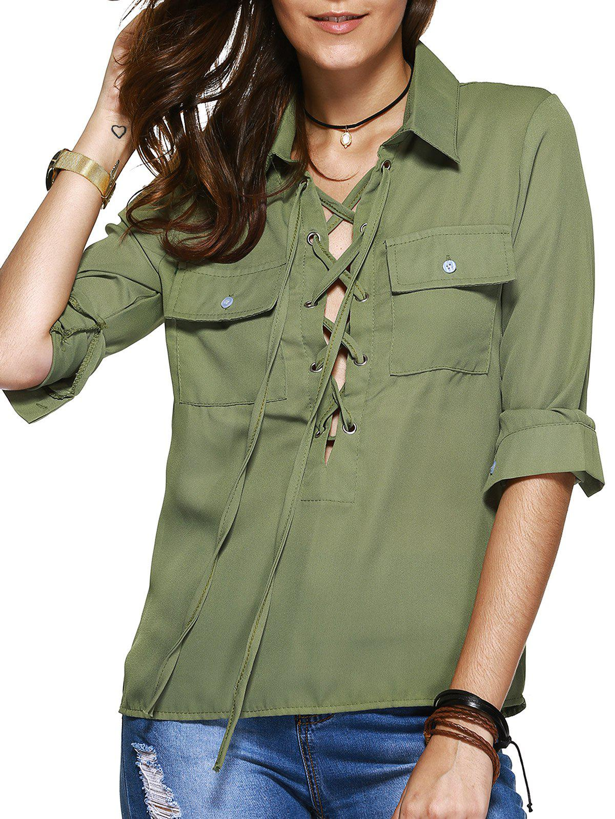 Simple Design Women's Lace Up Long Sleeves Blouse - OLIVE GREEN L