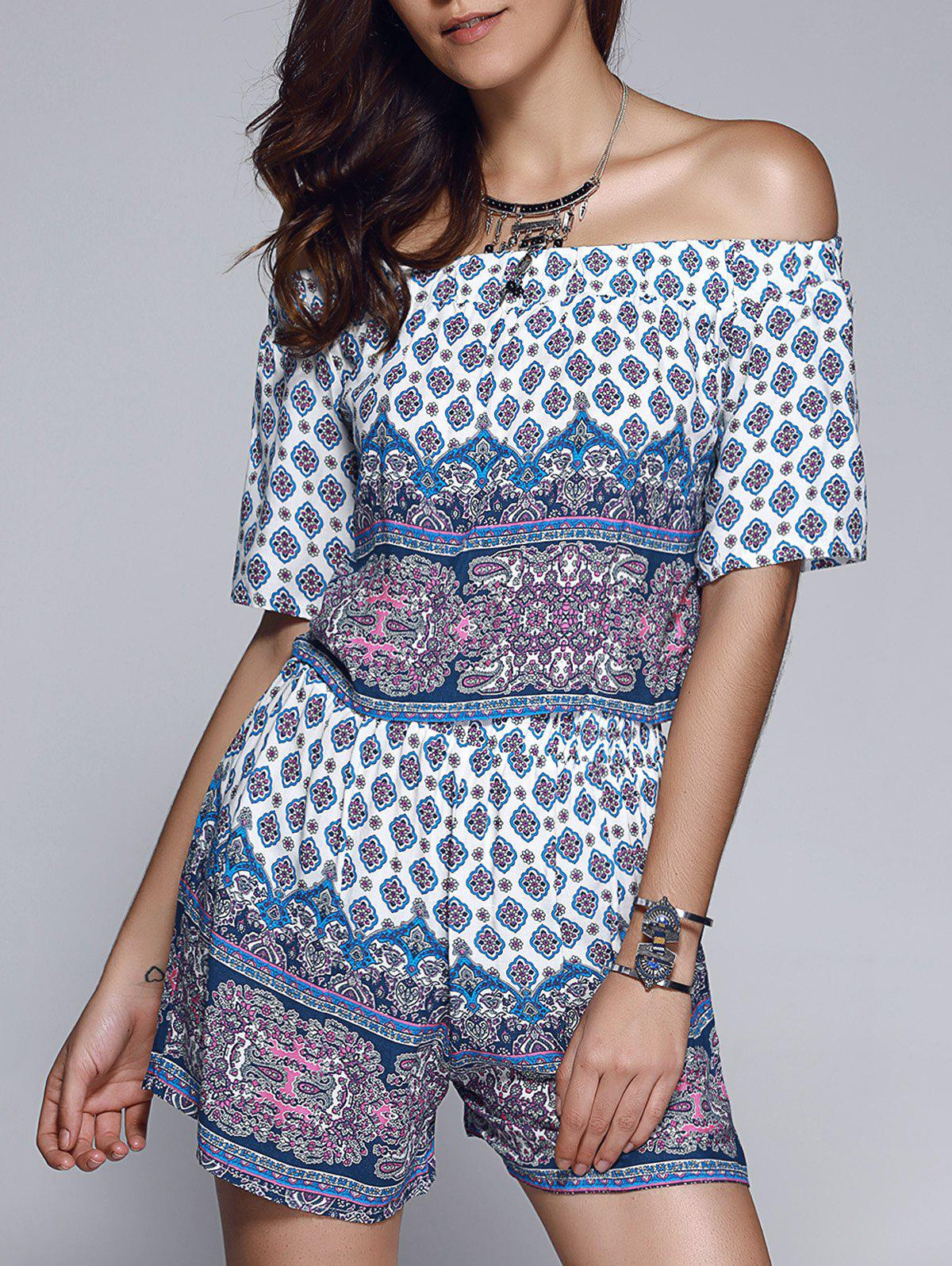 Ethnic Style Printed Women's Off The Shoulder Crop Top + Shorts Twinset