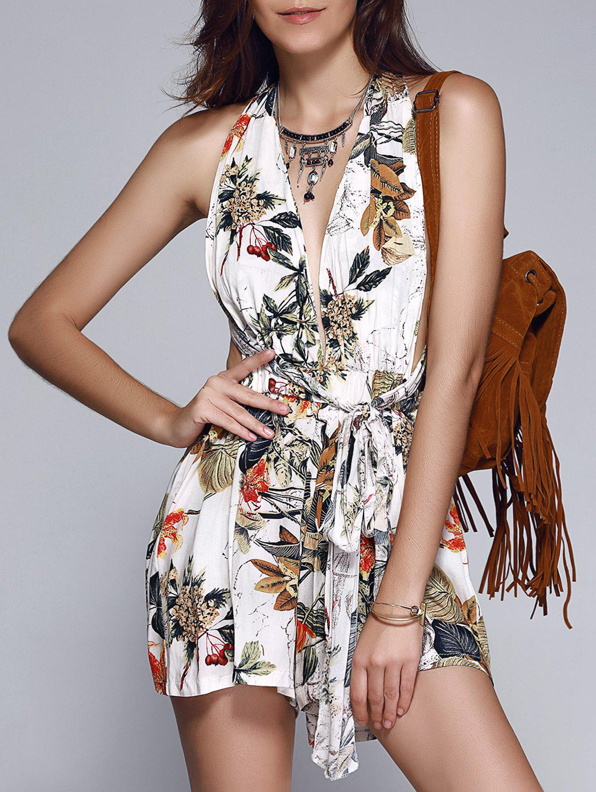 Fashionable Women's Floral Print Tie Backless Romper