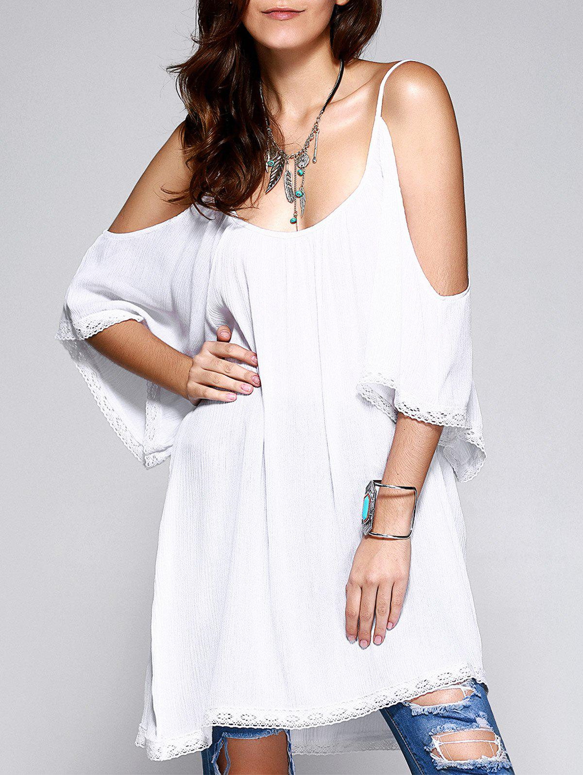Simple Women's Solid Color Cold Shoulder Dress - WHITE ONE SIZE(FIT SIZE XS TO M)