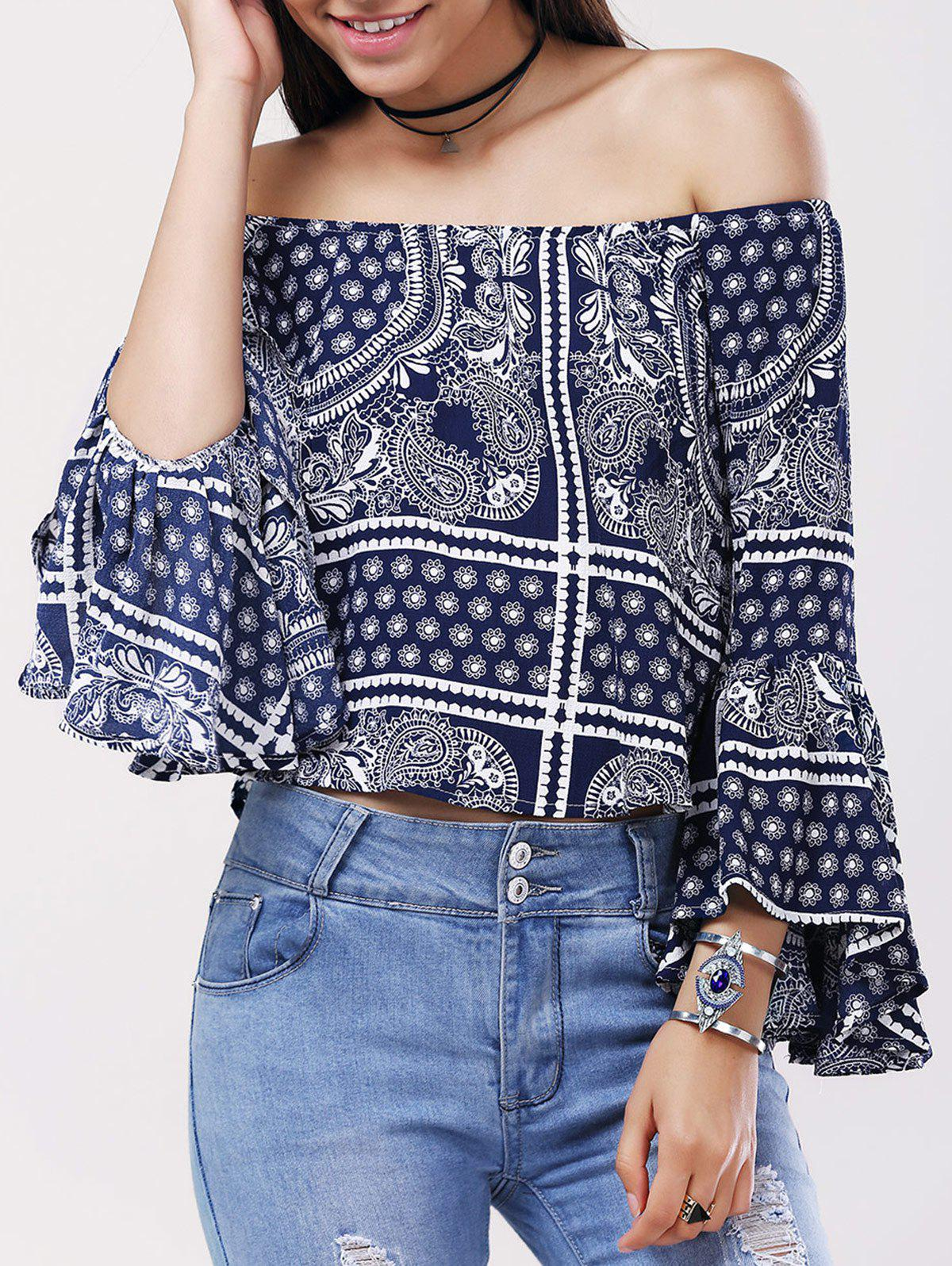Ethnic Women's Off The Shoulder Tribal Print Bell Sleeves Blouse - PURPLISH BLUE ONE SIZE(FIT SIZE XS TO M)