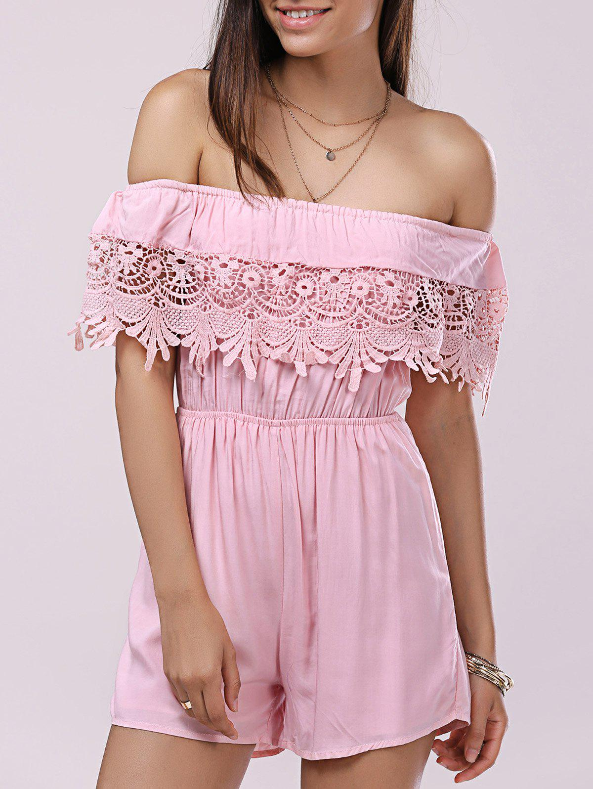 Casual Women's Solid Color Off The Shoulder  Lace Romper - LIGHT PINK ONE SIZE(FIT SIZE XS TO M)