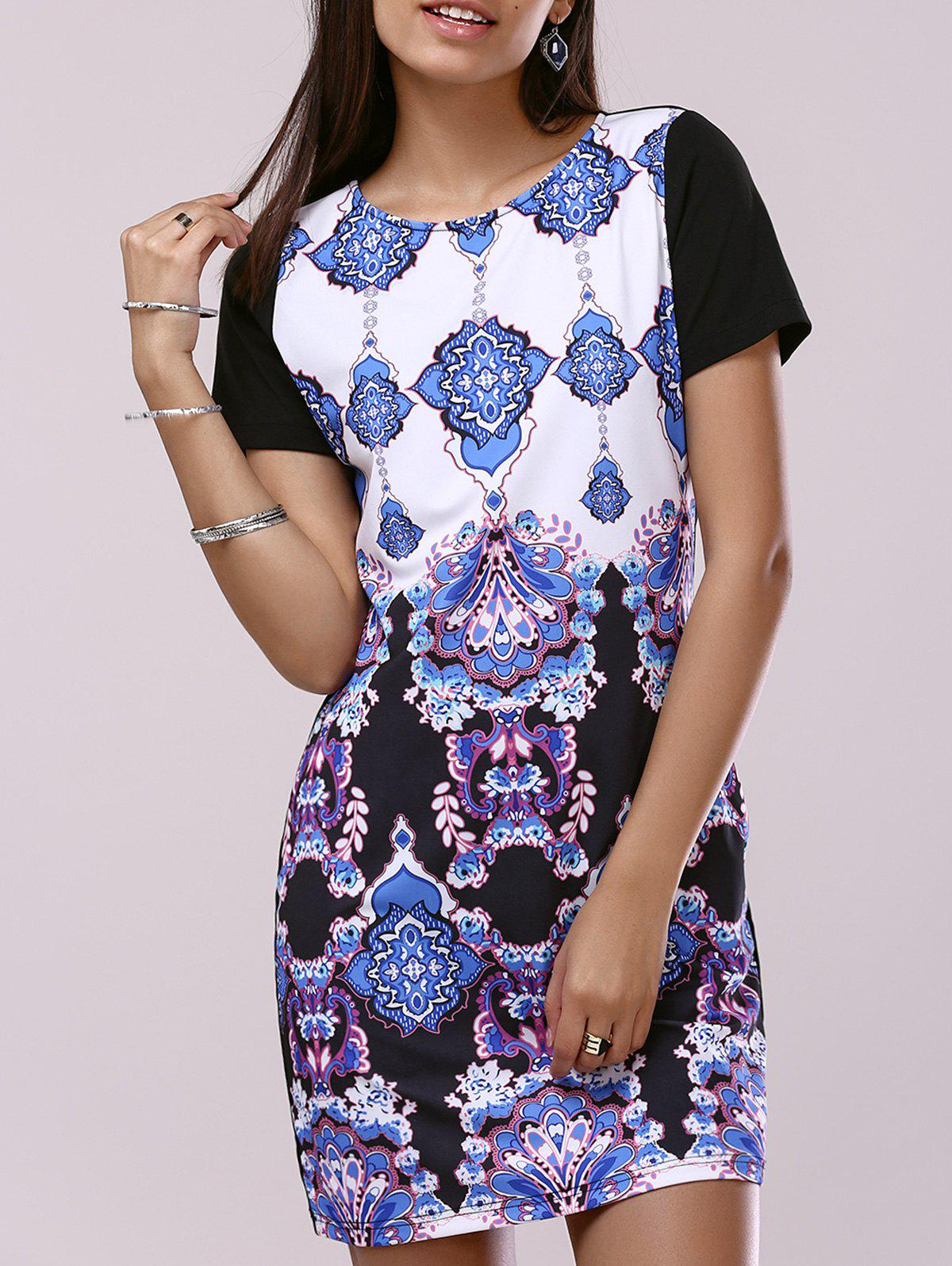 Fashionable Woman's Short Sleeve Scoop Neck Printing Dress - COLORMIX XL