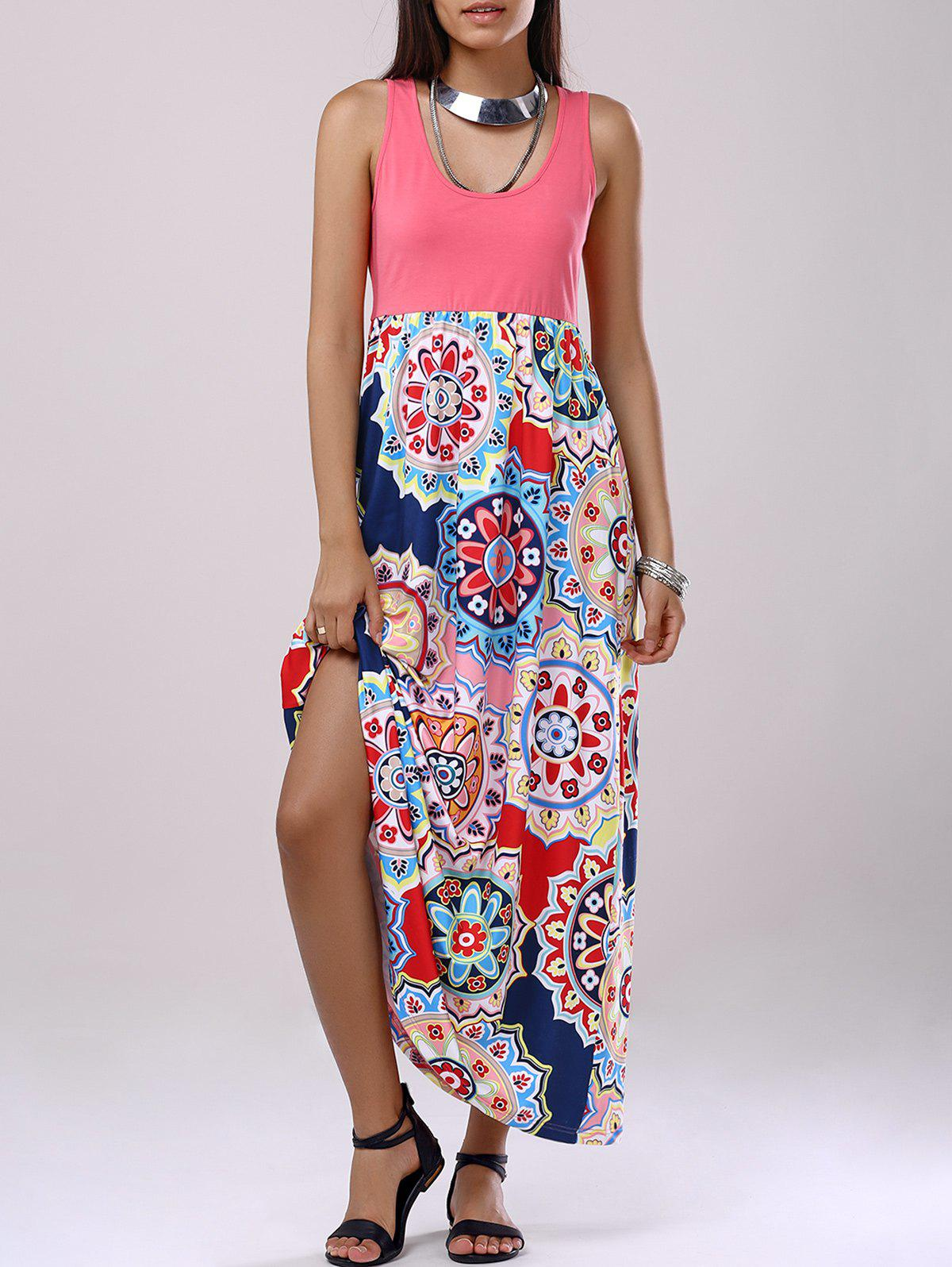 Bohemian Woman's U-Neck Splice Printing Dress