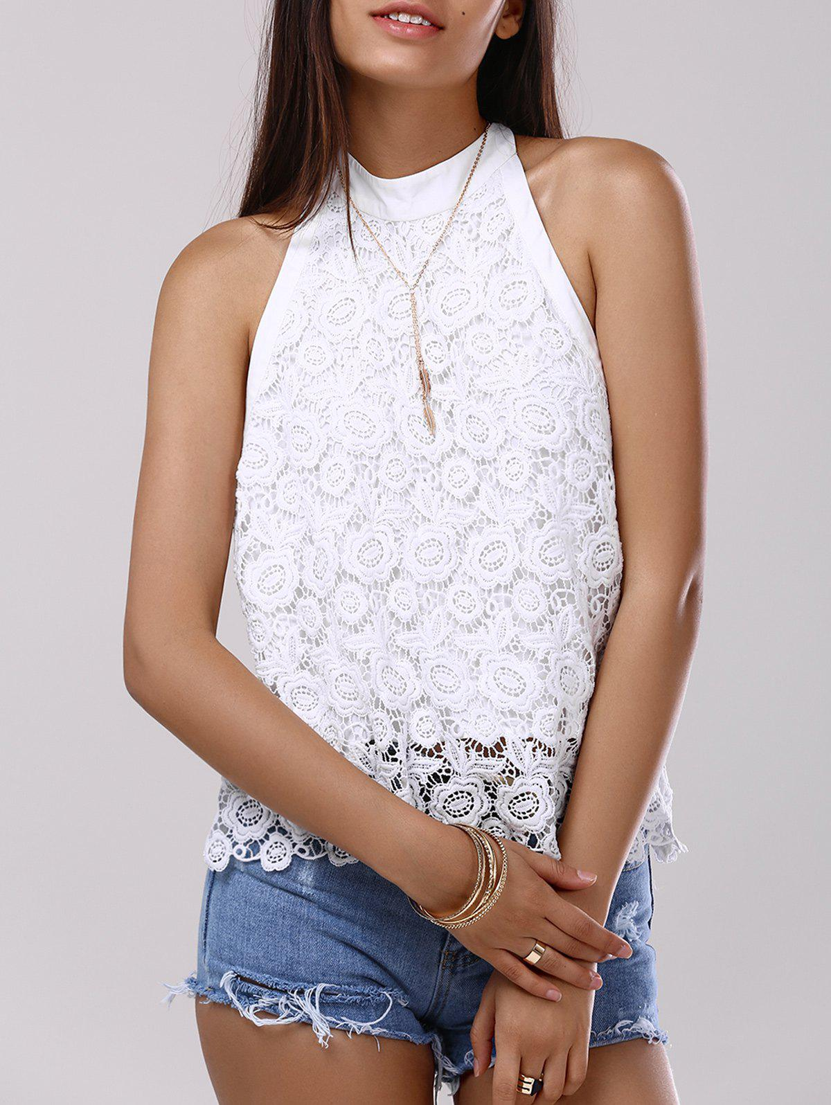 Fashionable Backless Halter Bowknot Lace Tank Top For Women - WHITE XL