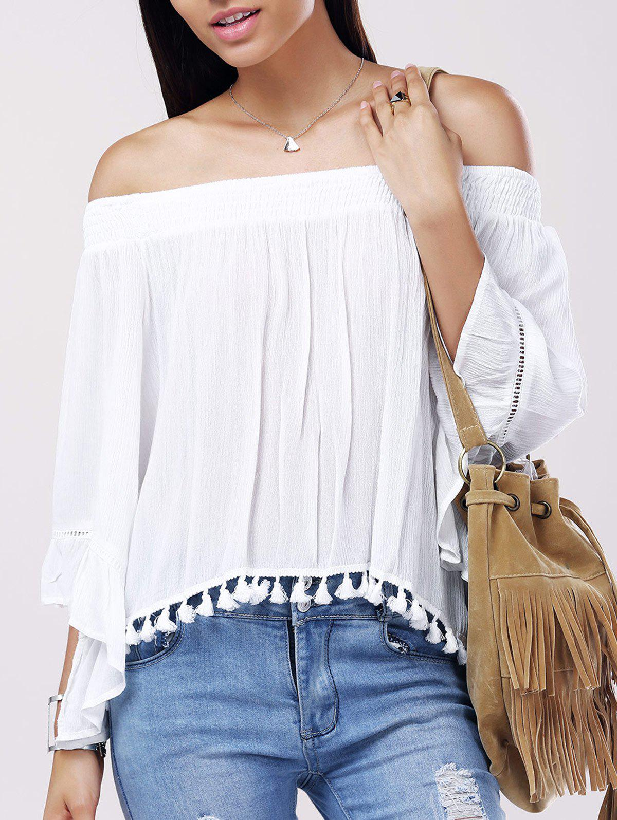Casual Women's Solid Color Boat Neck Fringe Bell Sleeves Blouse - WHITE ONE SIZE(FIT SIZE XS TO M)