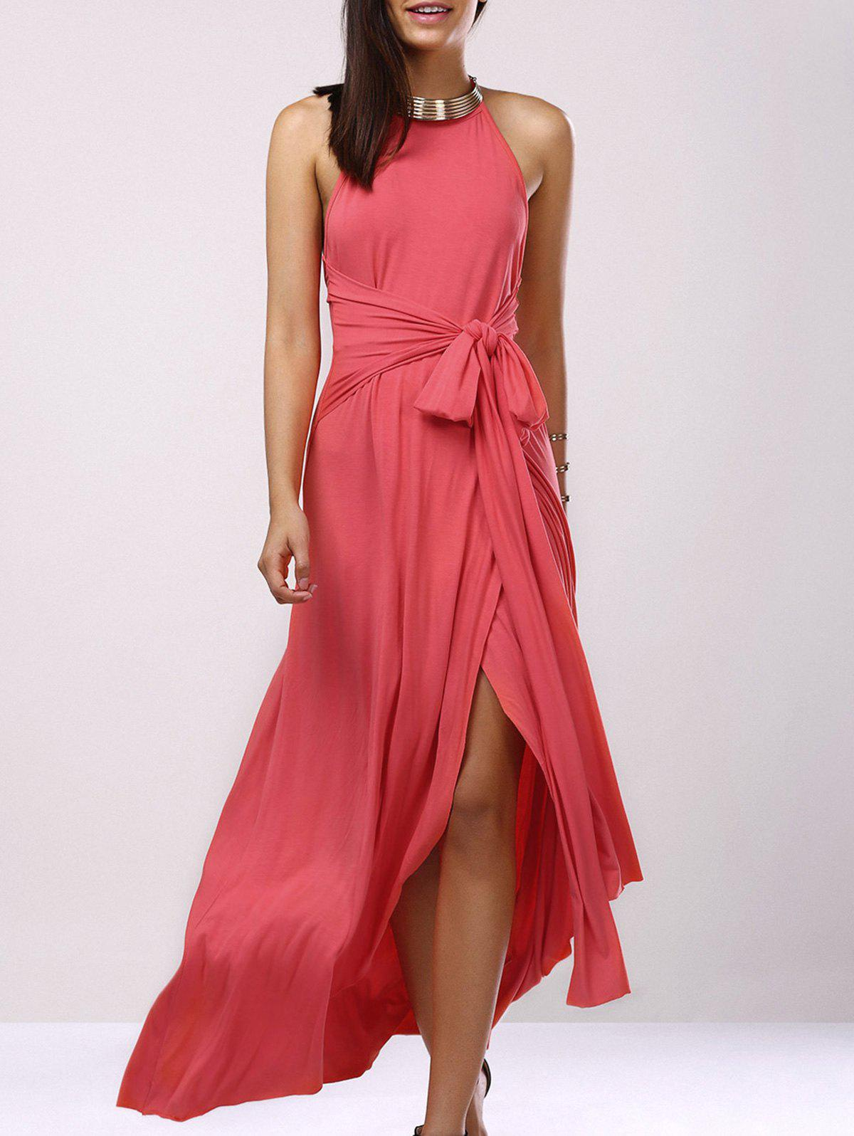 Fashionable Women's Hatler Sleeveless Backless Solid Color Maxi Dress - LIGHT PINK XL