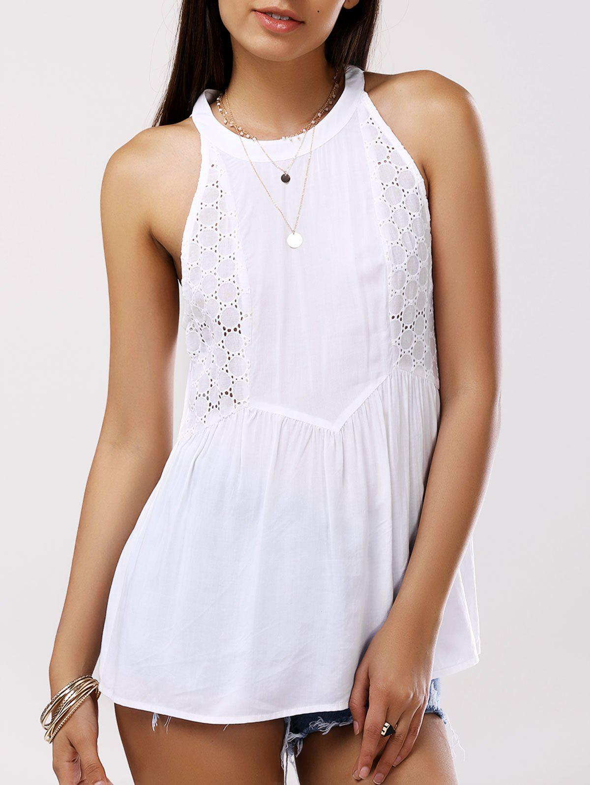 Sweet Round Collar Splice Cut-Out Sleeveless Blouse For Women - WHITE L
