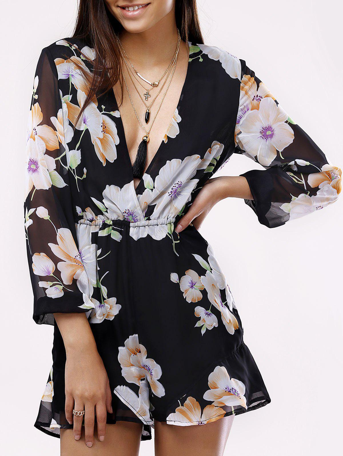 Fashionable Plunging Neck Printing Long Sleeves Romper For Women