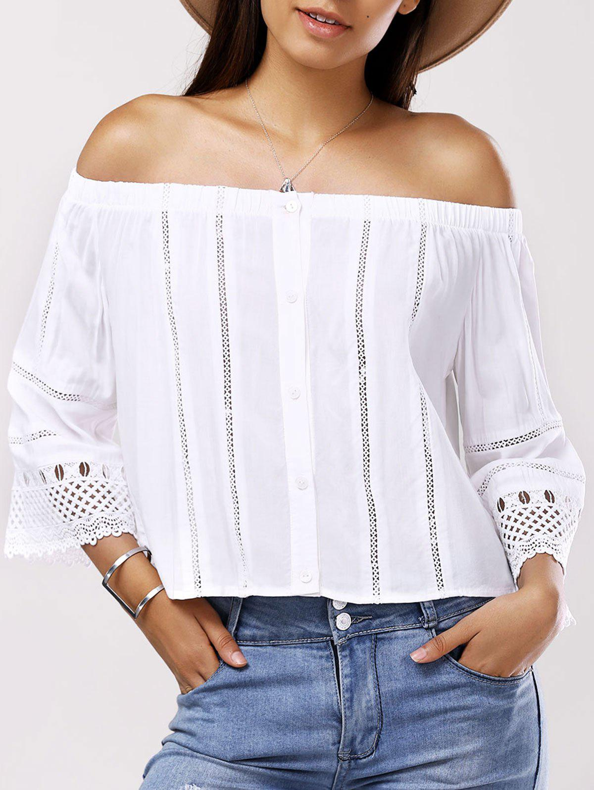 Fashionable Off-The-Shoulder Splice Cut-Out Lace Nine-Minute Sleeves Blouse For Women - CRYSTAL CREAM S