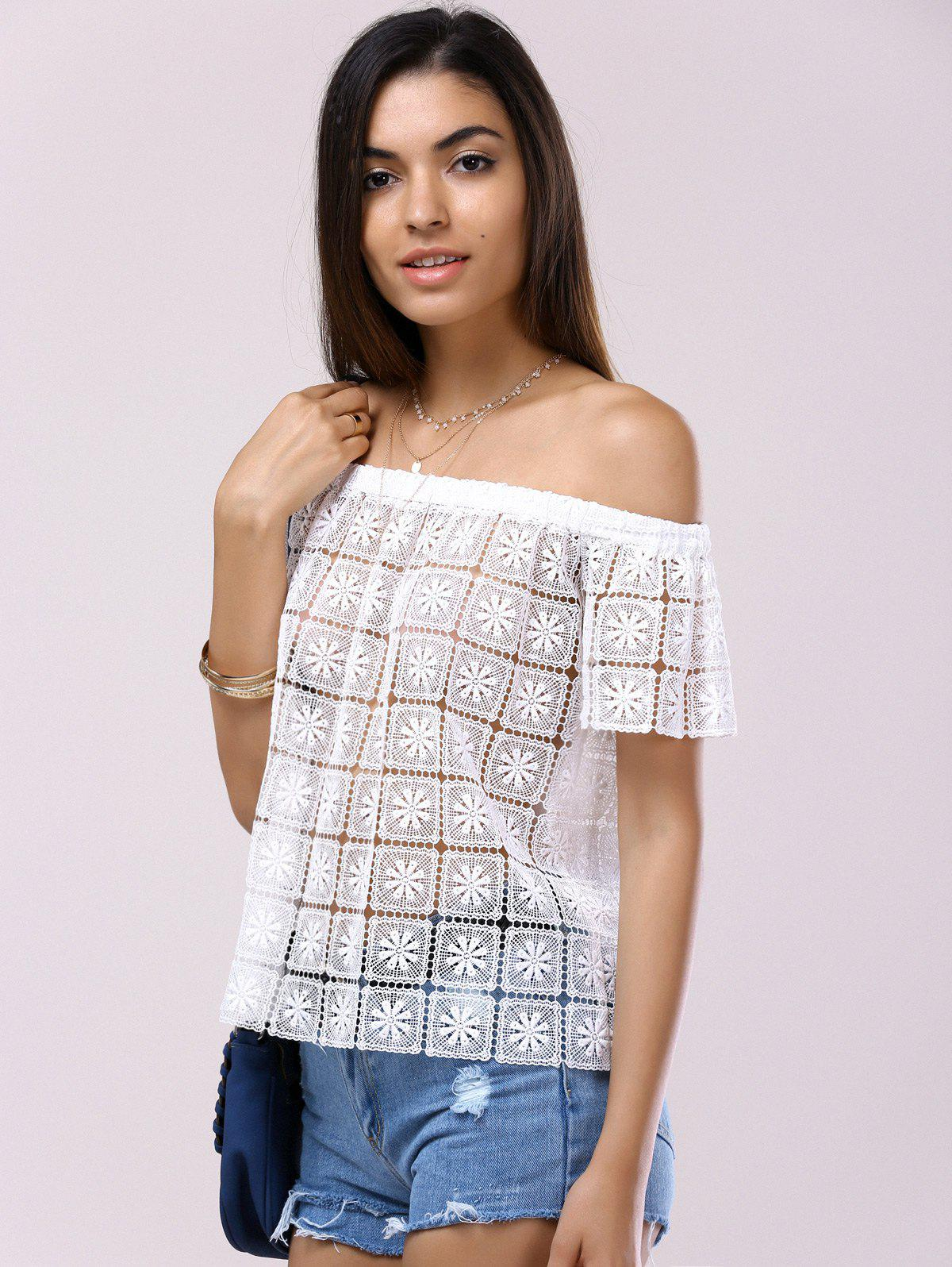 Fashionable Short Sleeves Off-The-Shoulder Cut-Out Lace Blouse For Women - WHITE S