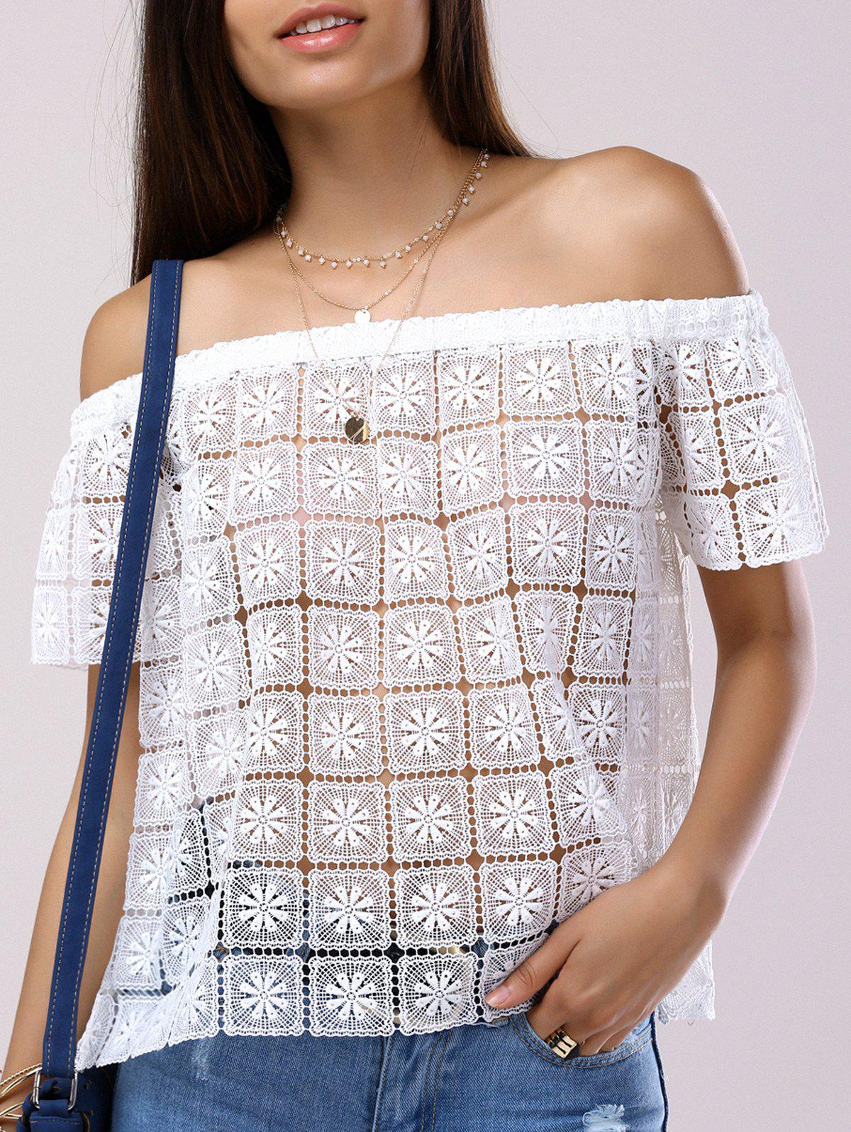 Fashionable Short Sleeves Off-The-Shoulder Cut-Out Lace Blouse For Women