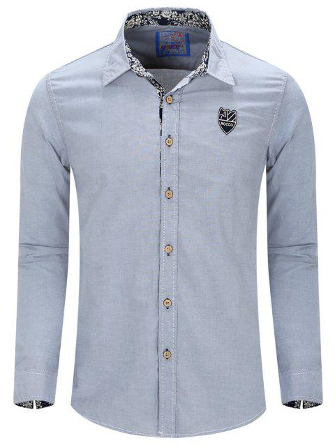 Men's Turn-Down Collar Embroidery Long Sleeve Shirt - MEDIUM BLUE M