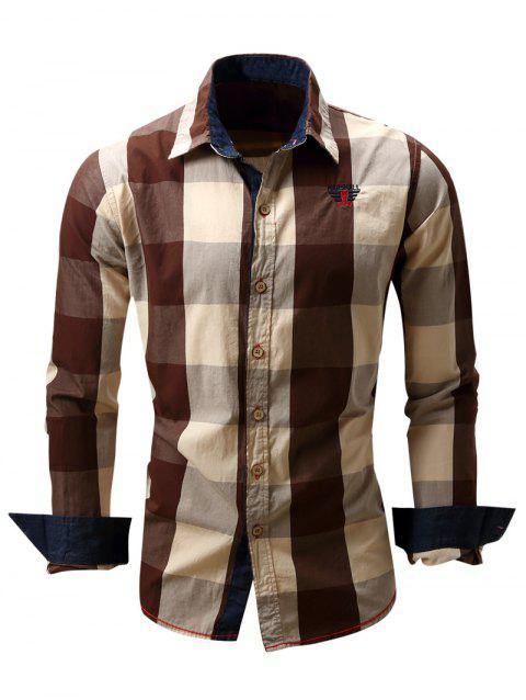 Men's Turn-Down Collar Plaid Pattern Long Sleeve Shirt - COFFEE 2XL