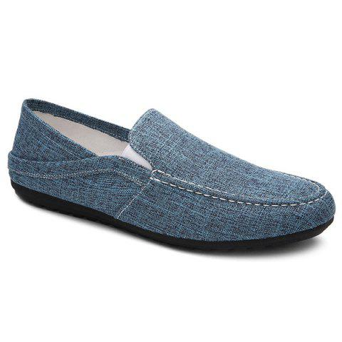 Simple Solid Color and Linen Design Men's Loafers - DEEP BLUE 42