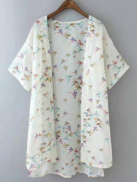 Plus Size Bird Print High Low Hem Kimono - WHITE XL