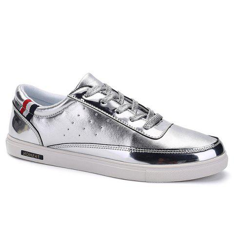 Stylish Metallic Color and Lace-Up Design Men's Casual Shoes - SILVER 41