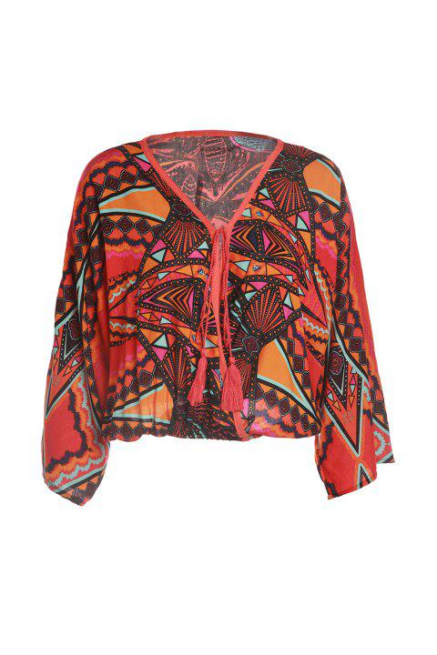 Ethnique Cross-Over Collar manches longues Motif tribal lacets ample Blouse femmes - Orange ONE SIZE(FIT SIZE XS TO M)