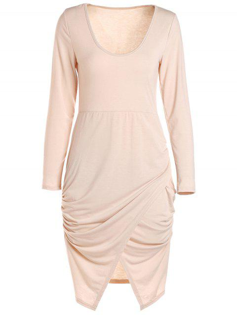Long Sleeve Crossover Hem Bodycon Bandage Dress - PINK S