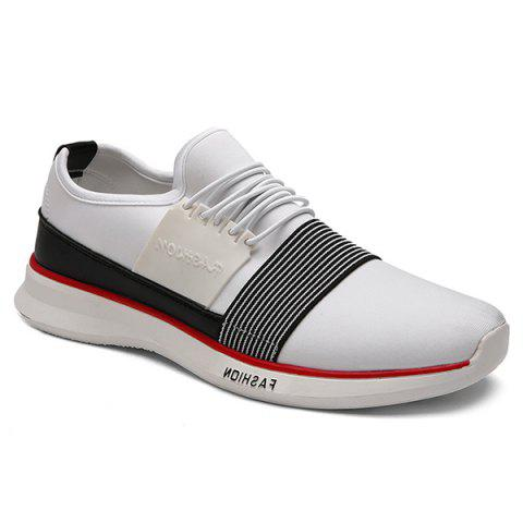 Trendy Striped and Elastic Design Men's Athletic Shoes - WHITE 42