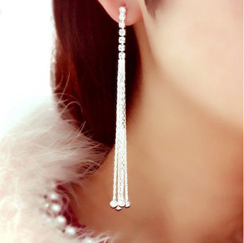 Pair of Rhinestone Long Chain Tassel Earrings - SILVER