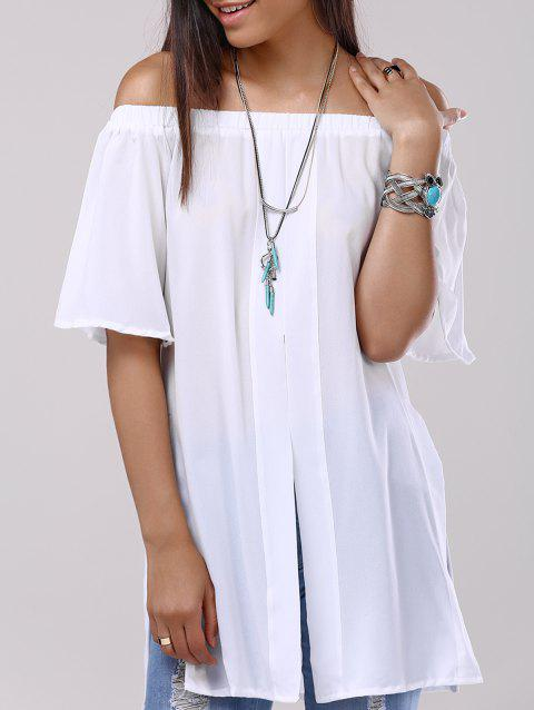 Split Off The Shoulder Chiffon Blouse - WHITE L