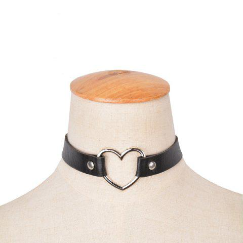 Heart PU Leather Choker Necklace - BLACK