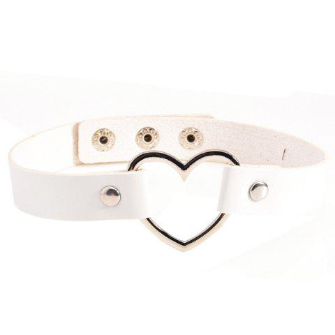 Heart PU Leather Choker Necklace - WHITE