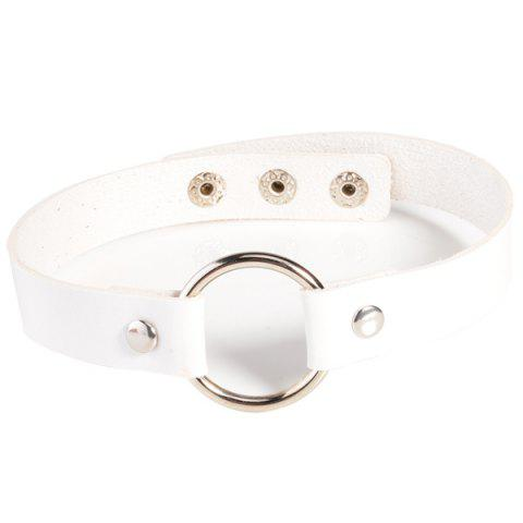 Faux Leather Round Choker Necklace - WHITE