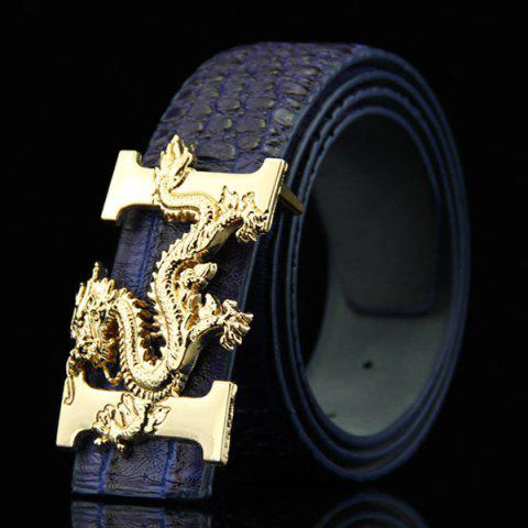 Stylish Chinese Dragon Shape Buckle Crocodile Skin Embossed Men's Casual PU Belt - DEEP BLUE