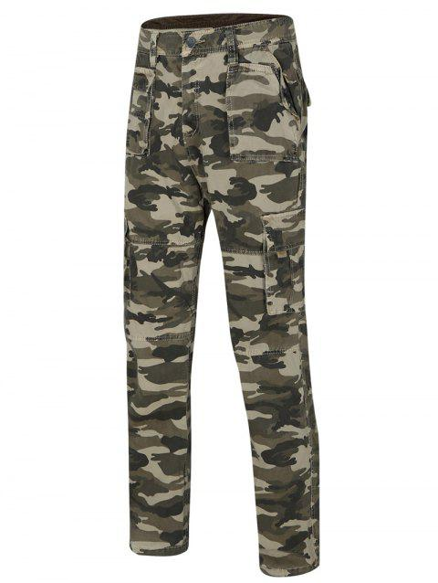 Men's Camo Straight Legs Cargo Pants - KHAKI 32