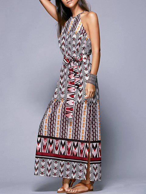Bohemian Side Slit Belted Women's Dress - COLORMIX XL