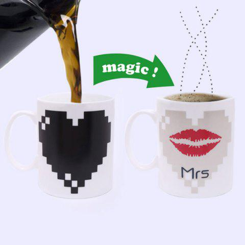 Creative Red Lip Pattern Ceramic Heat Sensitive DIY Color Changing Mug For Gifts - WHITE