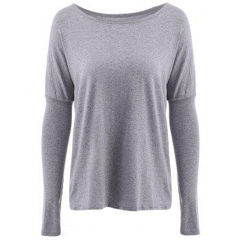 Simple Style Scoop Neck Solid Color Loose T-Shirt For Women