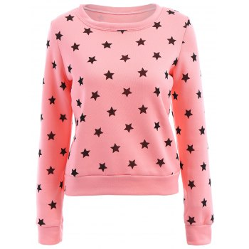 Sweet Style Long Sleeve Round Collar Stars Print Women's Sweatshirt