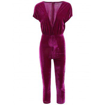 Plunging Neck Short Sleeve Jumpsuit For Women
