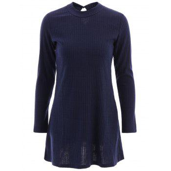 Brief Women's Round Neck Long Sleeve Hollow Out A-Line Dress