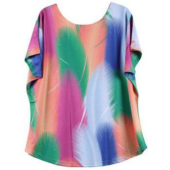 Looses-Fitting Bat Sleeve Colorized Feather Print T-Shirt