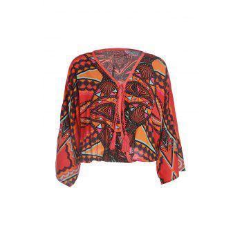 Ethnic Cross-Over Collar Long Sleeve Tribal Pattern Lace-Up Loose-Fitting Women's Blouse