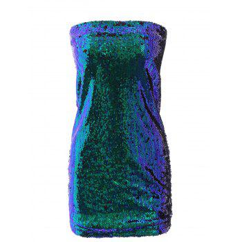 Women's Trendy High Waist Skinny Sequined Skirt - GREEN M