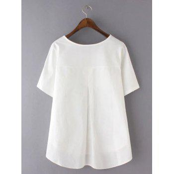 Sweet Plus Size High-Low Hem Pocket Design Blouse - WHITE WHITE