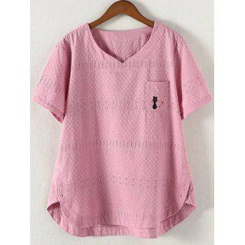 Brief Plus Size Hollow Out Single Pocket Blouse - PINK PINK