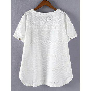Brief Plus Size Hollow Out Single Pocket Blouse - WHITE WHITE